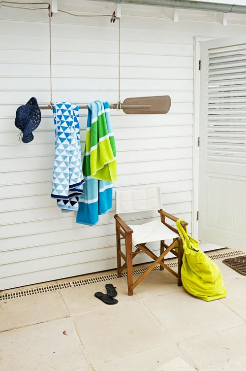 Fun towel hanger!  FROM: The perfect escape for summer weekends | 79 Ideas