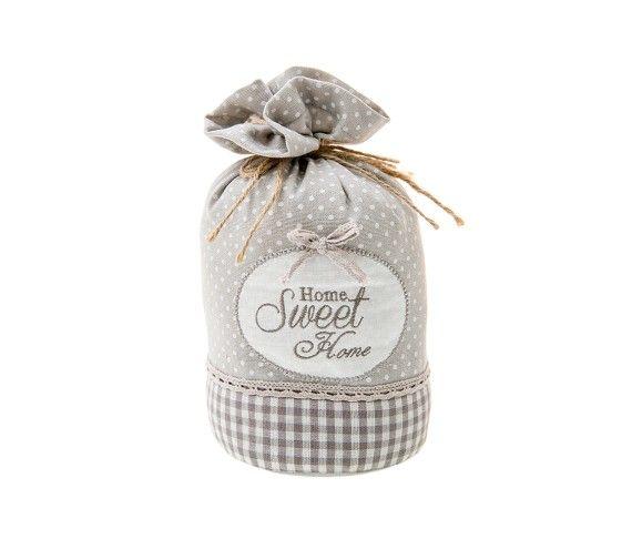 7,50 € - Ferma Porta Home Sweet Home, stile Shabby Chic, realizzato in stoffa, simpatica idea per bomboniera matrimonio, cm. 13x20.