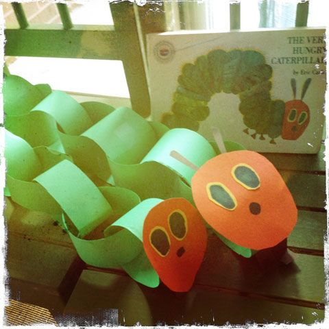 I think the girls are ready for more arts & crafts! First up, the Very Hungry Caterpillar (big sis & lil sis editions)