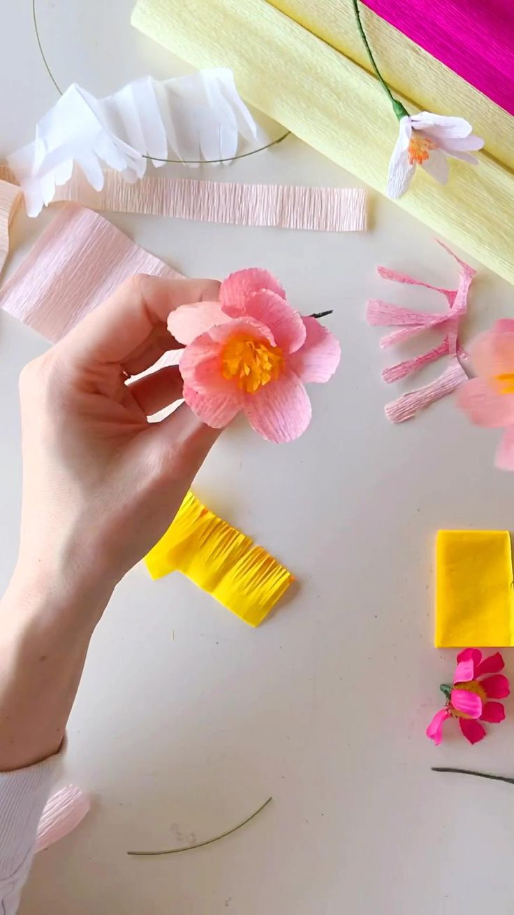 Te enseño como hacer estas flores de papel, son ideales para festejar la primavera! El papel se puede pintar con aerosol para darle un toque especial ❤️ #diy #paperflowertutorial #flowerdiy #tutorial #paperflowersdiy #paperflowerswedding #paperflowerswedding Tissue Paper Flowers, Paper Crafts, Diy Crafts, Paper Flower Tutorial, Flower Template, Spring Crafts, Flower Crown, Up, Gift Ideas