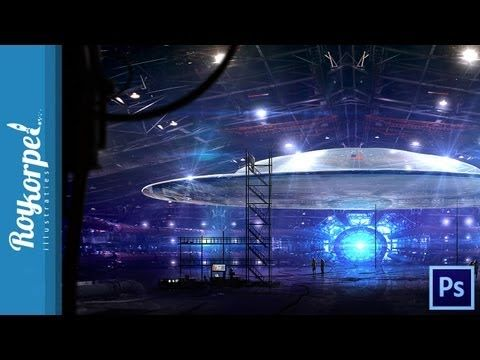 Top Secret UFO in Underground Bunker at Area 51 | Photoshop Cs6 time lap...