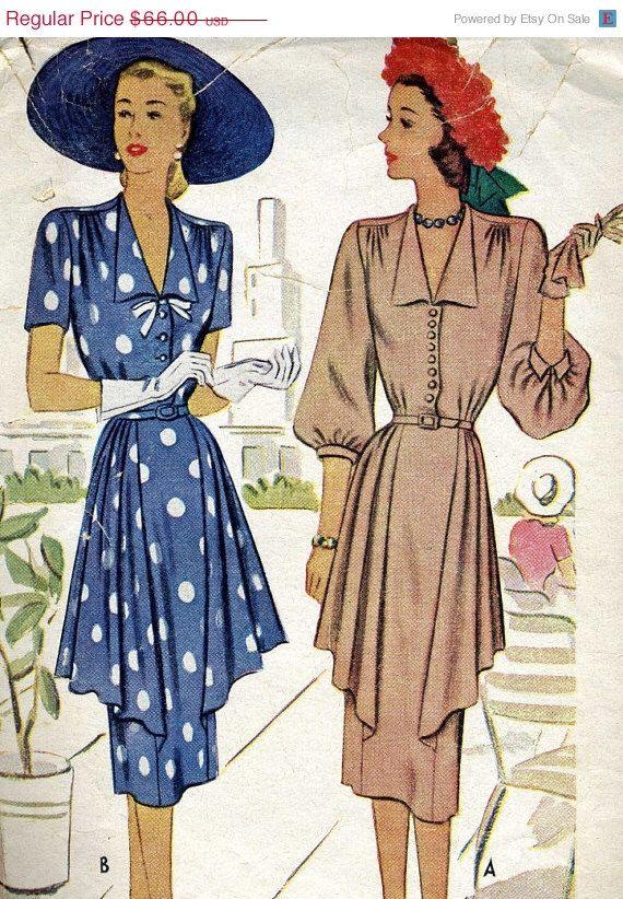 HolidaySale Vintage anni 40 McCalls 6913 Misses guerra Era giallino con festoni Sewing Pattern taglia 12 laterali di RomasMaison su Etsy https://www.etsy.com/it/listing/189922679/holidaysale-vintage-anni-40-mccalls-6913