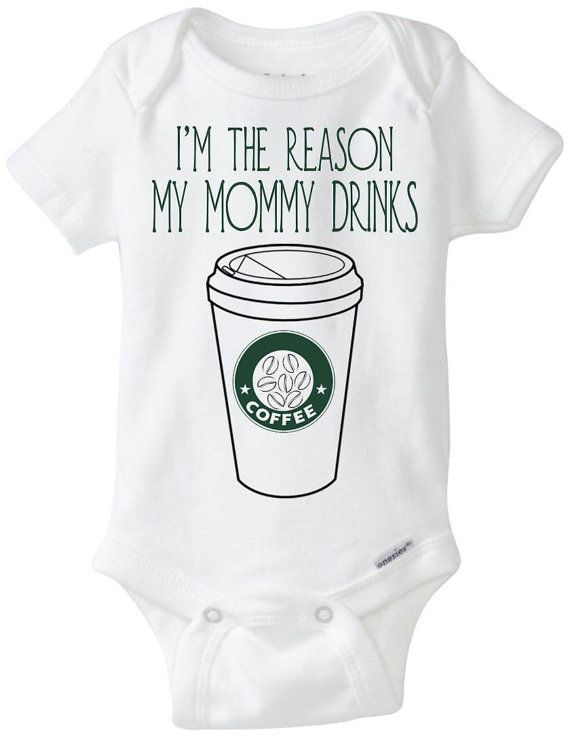 "Funny Onesie Baby Gift - ""I'm the reason my mommy drinks COFFEE"" Mug Baby Boy / Baby Girl / Babyshower Gift / Tired Exhausted Mom Shirt"
