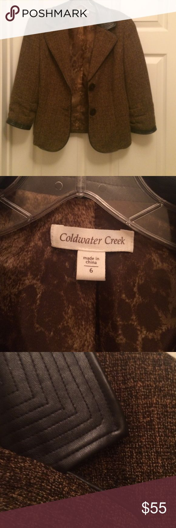 Two button brown tweed blazer Brown tweed blazer with leather color Coldwater Creek Jackets & Coats Blazers