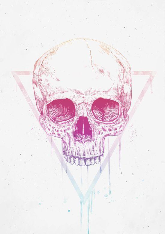 Poster | SKULL IN TRIANGLE von Balazs Solti | #poster #design #illustration…