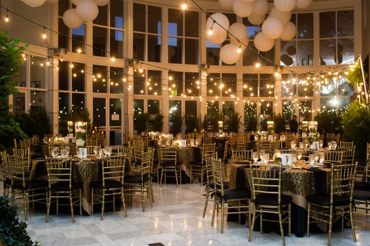 Tyler & Kathleen's Orlando Museum of Art Wedding | White Rose Entertainment | Captured by Belinda Photography | Reception | Market Lighting | Lanterns | gold | black