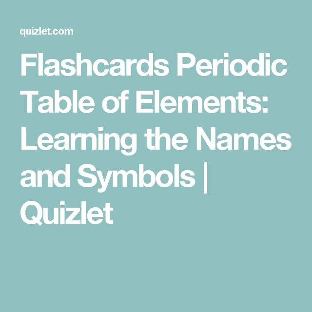 Flashcards Periodic Table of Elements Learning the Names and - new periodic table quiz sporcle