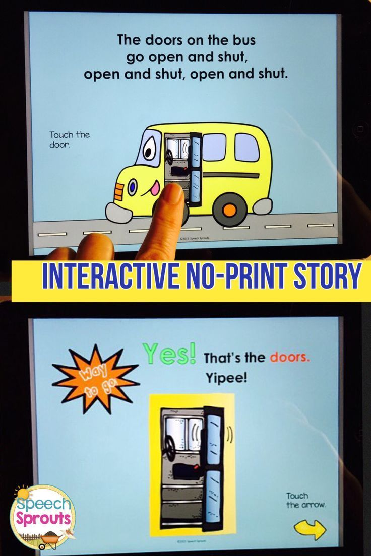 $ Wheels On The Bus Interactive No-Print Story for your tablet, computer or Interactive Whiteboard. This product is story and questions only, A full pack of language activities also available at Speech Sprouts
