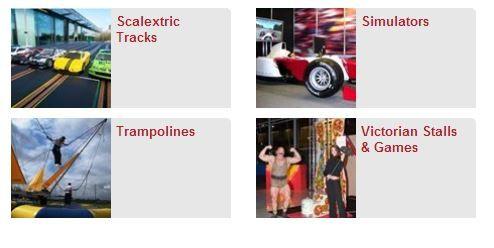 Scalextric Tracks, Simulators, Trampolines &  Victorian Stalls & Games