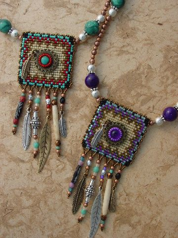 Great idea! Loomed square, then embellished.  Original by Heidi Kummli Southwest