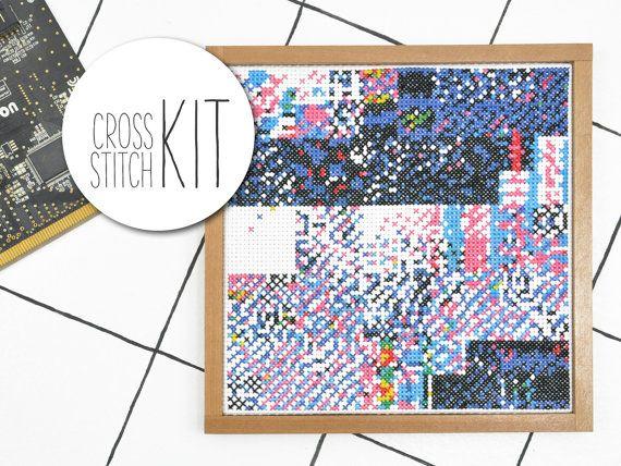 GLITCH I - moderne kruissteek van Pack abstract kleurrijk pixel - borduurwerk set Kit cadeau met materiaal, borduurwerk patroon garen naald stof set