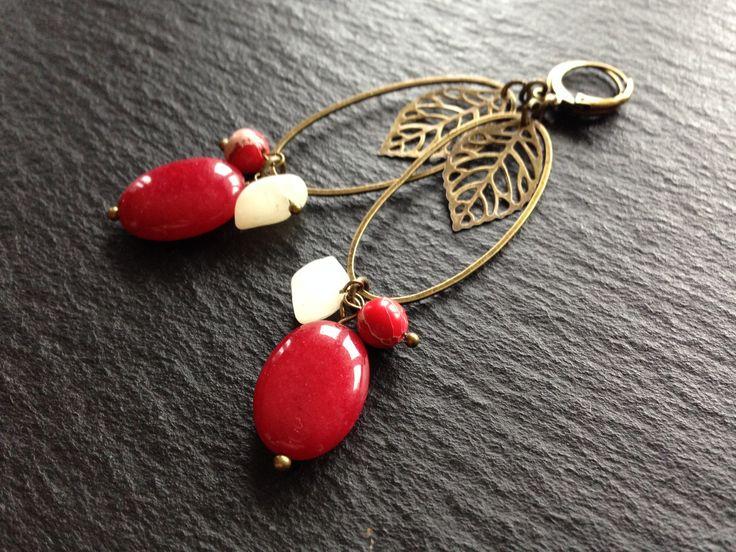 Boucles d oreilles Ovale Feuilles et pierres fines Jade et Jaspe Rouge : Boucles d'oreille par les-bijoux-de-mamzellenat