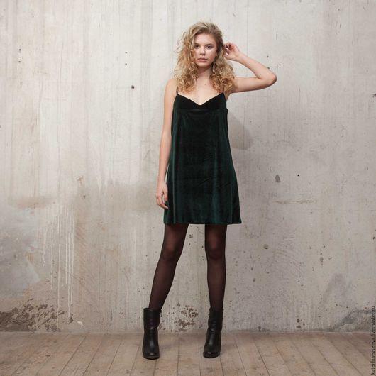 Платья ручной работы. Ярмарка Мастеров - ручная работа. Купить Платье-комбинация. Handmade. Тёмно-зелёный, бусины, девушке