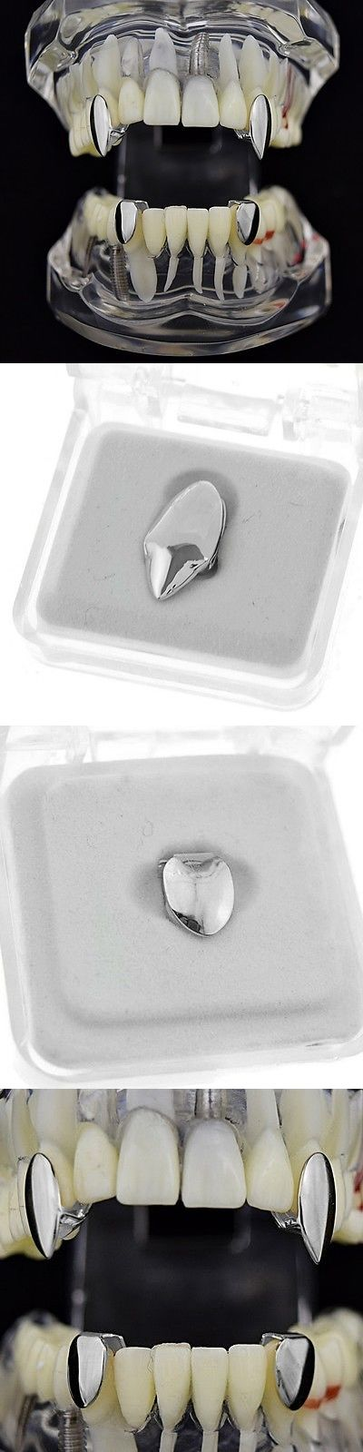 Grillz Dental Grills 152808: Vampire Fang Set Silver Tone 2 Canine K9 Dracula Fangs And Two Bottom Teeth Caps BUY IT NOW ONLY: $39.95