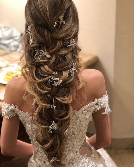 Crystal And Pearl Hair Vine Extra Long Hair Vine Bridal Hair Etsy Long Hair Vine Wedding Hair Pieces Hair Pieces