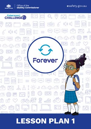 Cybersmart Forever , for middle primary. Using a 'real world' example, the story explores the risks involved in sharing digital images and how to approach any challenges that might come up.