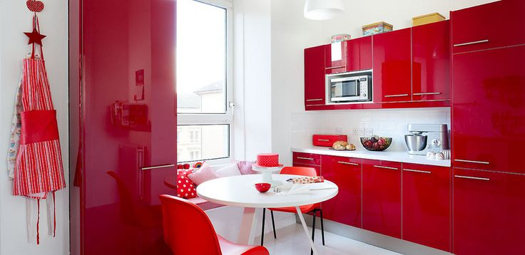 Red and White Kitchen Cabinets Design Ideas