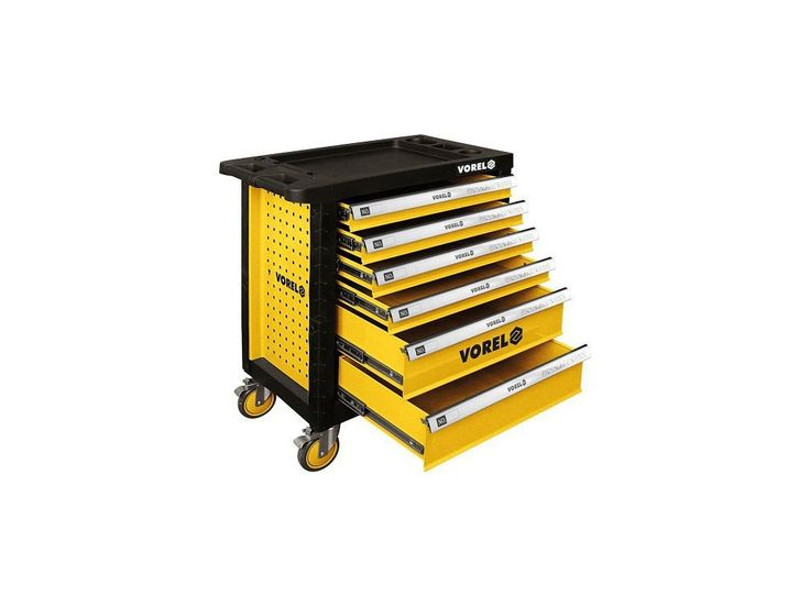 Pojízdná dílenská skříňka vyrobená z kvalitního ocelového plechu, nejen pro profesionální použití.