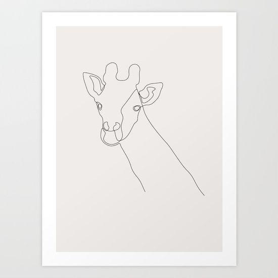 Giraffe Art Print by Madebykristine   Society6
