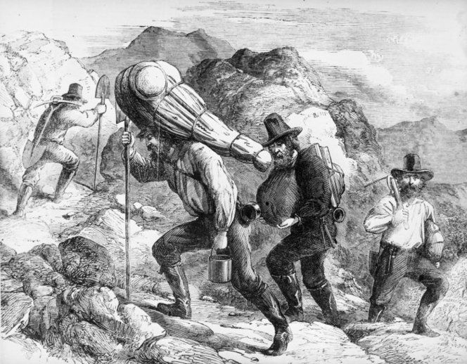 gold miners on trail