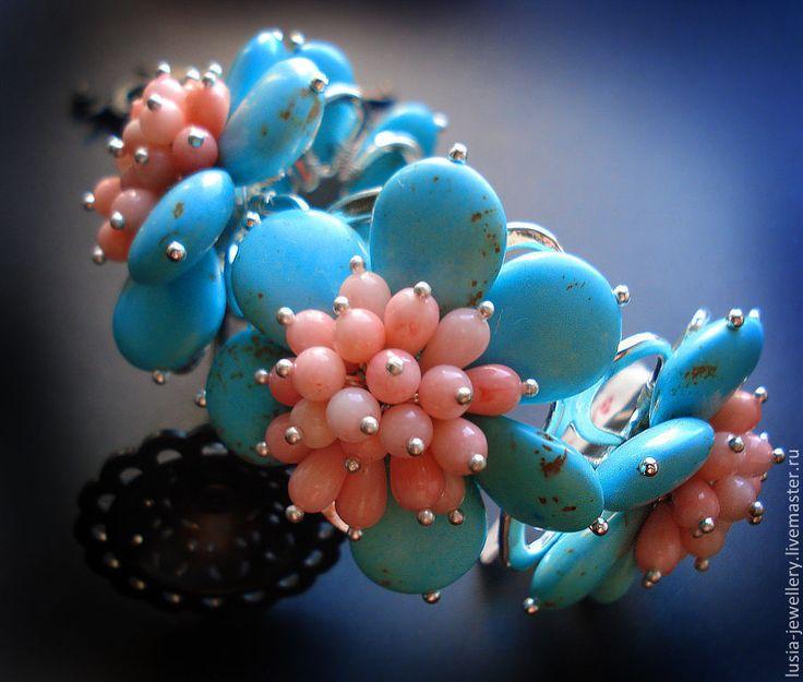 Купить комплект ВЕСЕННИЙ БУКЕТ - браслет, широкий браслет, массивный браслет, браслет с цветами