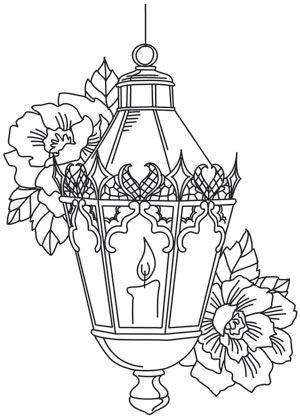 Lacy, detailed lines make up this radiant and dark Victorian lantern design. Downloads as a PDF. Use pattern transfer paper to trace design for hand-stitching.
