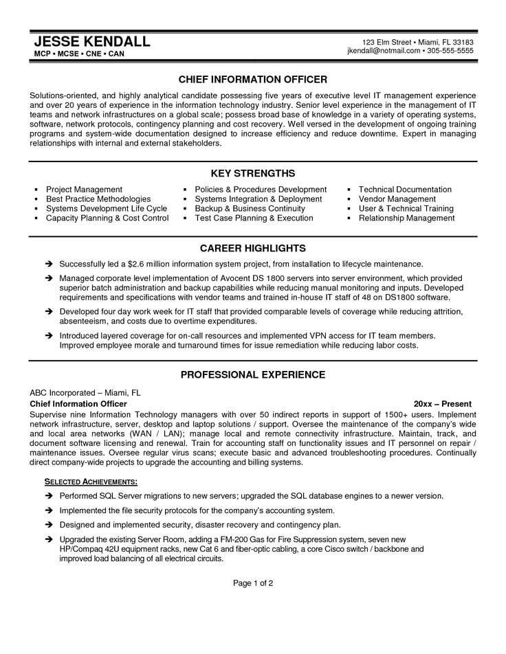 best resume cio resume formats google search - Chief Information Officer Resume