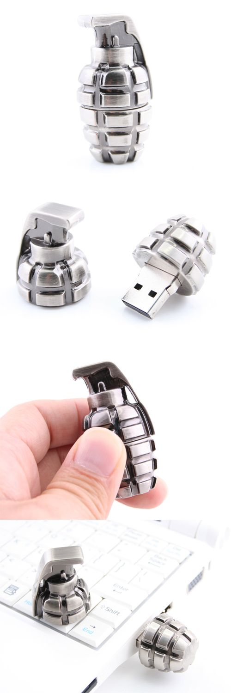 Metallic Hand Grenade USB Drive