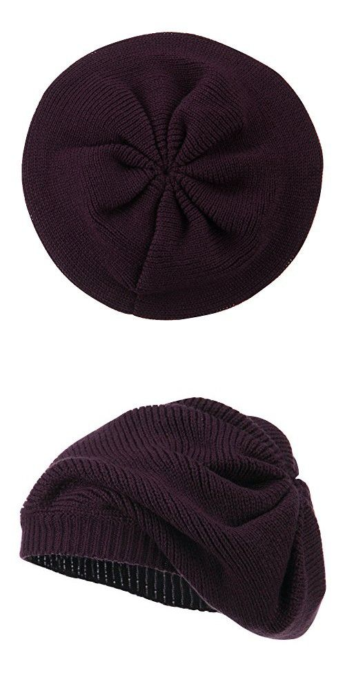 60caf968230 Women s Ribbed Knit Beret - Eggplant OSFM