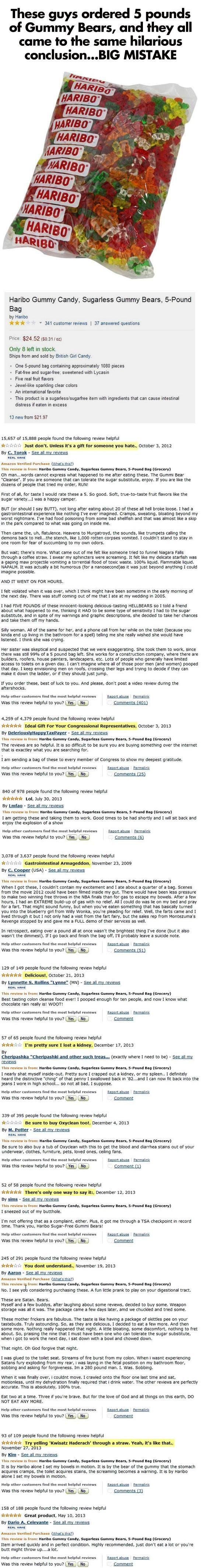 Hilarious Reviews of Haribo Sugar Free Gummy Bears
