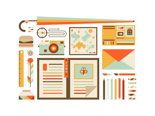 travel inspired icons - great color palatte