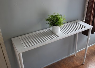 Shutter table - attach legs to a painted shutter and there you go!