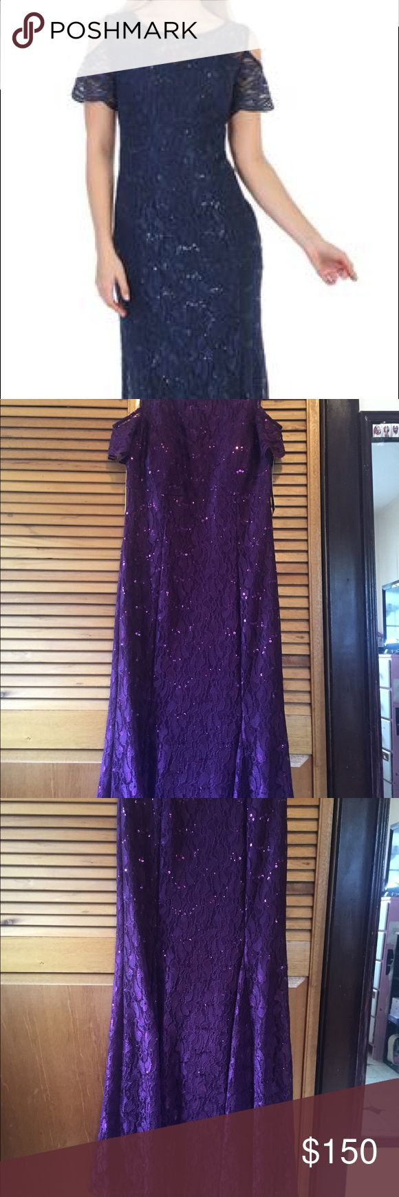 Plum formal dress for prom or wedding Lace long formal dress with cold shoulder. Brand new. Never worn. Great for prom or mother of bride. Cover photo shows in navy but dress is plum. Sally USA Dresses Wedding