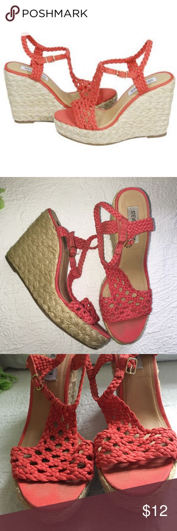 Steve Madden manggo coral wedges Worn 2-3 times for graduation and party. Scuff shown in pictures by toes but overall good condition for price! Steve Madden Shoes Wedges