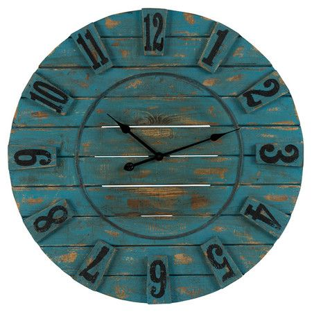 Awash in a distressed ocean blue finish and featuring a planked wood design, this charming wall clock brims with rustic-chic appeal.  Pro...