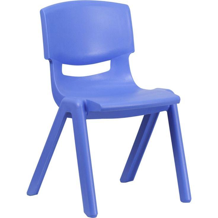 Chaise scolaire empilable en plastique bleu Offex avec 15.5 & # 39; & # 39; Hauteur du siège