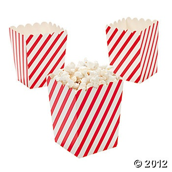 Mini Red & White Striped Popcorn Boxes, Paper Goody Bags & Boxes, Party Favor & Goody Bags, Party Themes & Events - Oriental Trading