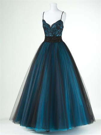 teal and black ball gown will make you feel like a cinderella just for a one night