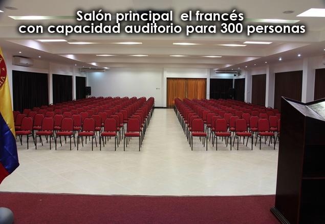 Los invitamos a conocer el nuevo Centro de Eventos y convenciones Camino Verde.  1 Salón el Francés este es el salón principal con capacidad en auditorio para 300 personas.  2 Salón Guacamaya con capacidad en auditorio para 100 personas.  3 Salón Alegría con capacidad en auditorio para 50 personas.
