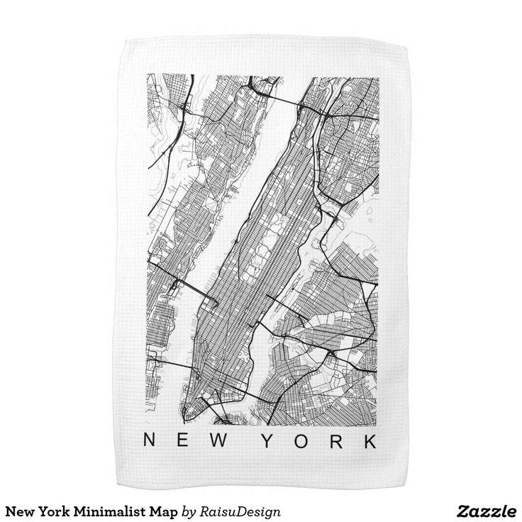 New York Minimalist Map Towel
