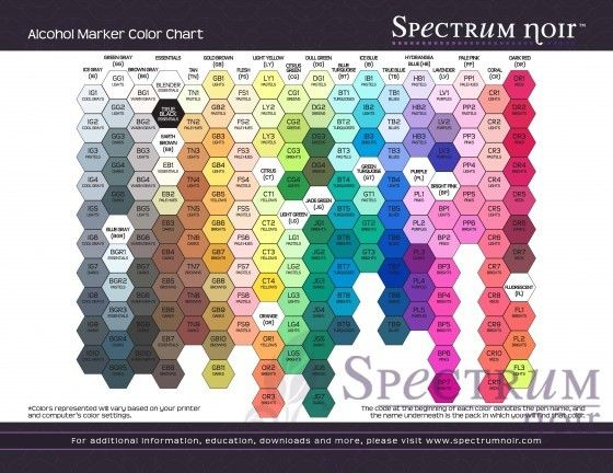 Spectrum Noir Color Chart - blank and coloured charts to print