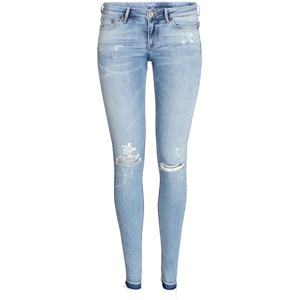 H&M Super Skinny Low Ripped Jeans ($45) ❤ liked on Polyvore featuring jeans, pants, bottoms, calças, light denim blue, skinny jeans, skinny fit jeans, destroyed jeans, blue jeans and super skinny jeans