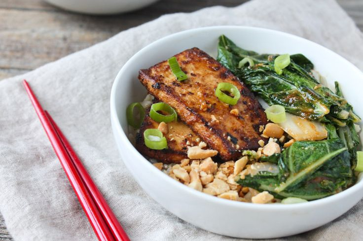 Spicy Peanut Tofu and Bok Choy Rice Bowl @karalydon