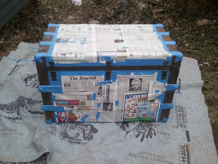 painting steamer trunk   The tin portions were painted with Rust inhibiting black spray paint ...