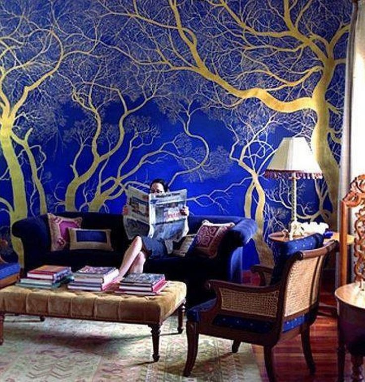 gold painted walls | Shiny Gold Painted Tree On Royal Blue Wall