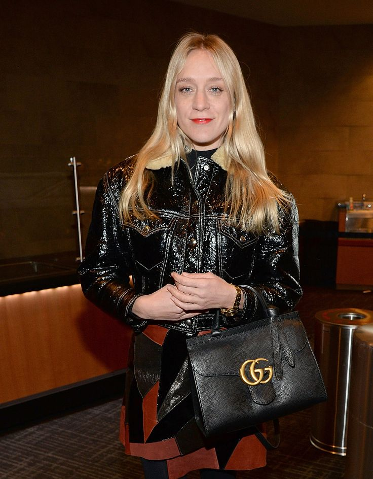 Chloe Sevigny spotted in New York with the GG Marmont top handle bag from the Gucci Spring Summer 2016 collection.