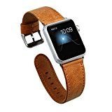 KADES Genuine Leather Apple Watch Band 42mm Wristband with Retro Crazy Horse Texture for iWatch All Version (CH Brown)