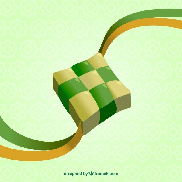 Realistic Traditional Ketupat Composition Vector Free Greeting Card Template Preschool Coloring Pages
