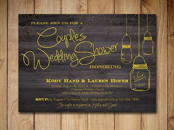 Couples Shower Invitation Mason Jar Wedding Shower Invitaiton Template Yellow Rustic Wedding | Country Wedding Bridal Shower Printable by PaintTheDayDesigns