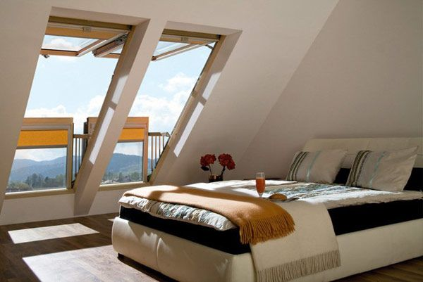 Smart window, that changes into a balcony. Great way to make these attics better space-saving and useful rooms